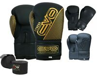EVO Maya Leather Boxing Gloves GEL MMA Punch Bag Sparring Training Muay Thai
