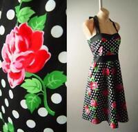 Black White Polka Dot Rose Floral 50s Rockabilly Halter Swing 282 mv Dress M 1XL
