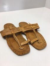 Womens Handmade Natural Brown Art Leather Kolhapuri Chappals/Sandal US:8