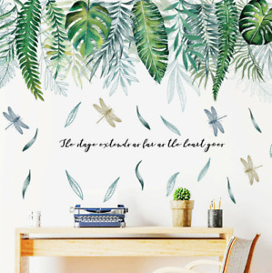 Green Tropical Leaves Plants Monstera Dragonfly Wall Decals Vinyl Stickers Fun