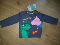 Mothercare Boys Peppa Pig George & Dino Top 3-6 mths