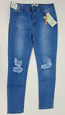 Boohoo Grace Busted Knee Skinny Jeans - Womens US 10 - Blue - NWT