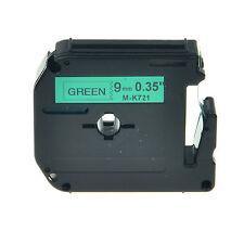 "1PK MK-721 M-K721 Black on Green Label Tape For Brother PT-70SP Printer 3/8"""