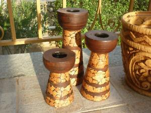 PORTACANDELE ETNICO guscio d'oca realizzato a mano handmade artigianale legno