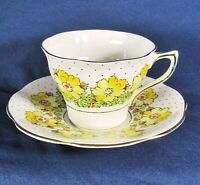 Vintage Rosina-Queens China Yellow Flowers,Dots,Gold Trim Teacup Set,VG Cond