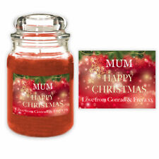 Red Christmas Candle Label Gift for Mum