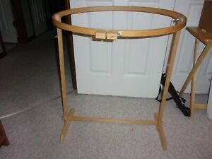"""WOOD QUILTING HOOP WITH STAND OVAL 18"""" X 27"""" in Originial Box"""