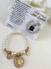 1-St. Bendict Pearl Bracelet Prayer CATHOLIC Pulcera de San Benito Con Oracion