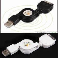 Retractable USB Data Sync&Charger Cable for iPod iPhone 4S 4 3GS Touch nano b&w
