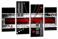 Large Red Black Grey Abstract Canvas Picture Wall Art Split Multi 4 panel set
