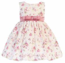 Dusty Rose Baby Toddler Flower Girls Kids Cotton Floral Print Dress Wedding M728