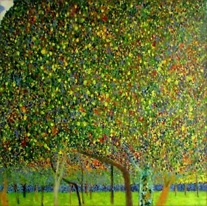 Gustav Klimt Pear Tree Repro, Quality Hand Painted Oil Painting 36x36in