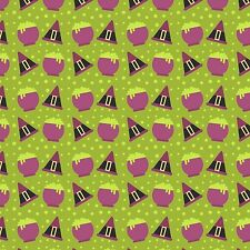 Printed Bow Fabric A4 Canvas Halloween Witches Hat Caldron HW8 glitter hair bows
