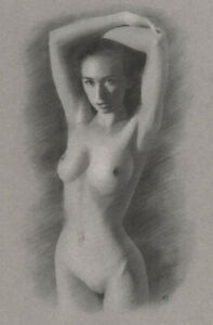 Nude Female ORIGINAL DRAWING Charcoal Realistic Fine Art Naked lady NO RESERVE