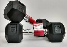 Two Weider Hex Rubber 15 lb Dumbbells Total Weight 30lbs - fast SHIPPING