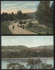 POSTCARD NEWELL WV/WEST VIRGINIA CITY PARK & POTTERY KILN STACKS 2 VIEWS 1907