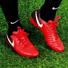 Nike Tiempo Legado III FG Botas de fútbol UK 8.5 Universidad Rojo/Negro rrp £ 114.95