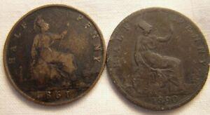 1861 / 1890 Victoria Half Pennies