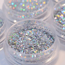 5Pot/Set Silver Glitter Chunky Holographic Eye Shadow Nail Art Face Body Powder