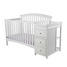 White Toddler Baby Bed 5 In 1 Convertible Crib Set Nursery Changer Furniture New