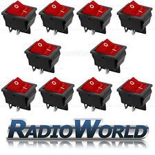 10x Red Illuminated Rocker Switch 2 Circuits 15A 250V