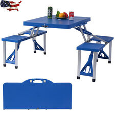 Outdoor Foldable Portable Aluminum Plastic Picnic Table Camping w/ Bench 4 Seat