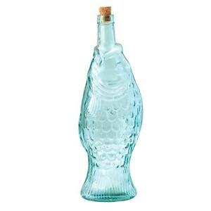 CREATIVE CO-OP Recycled Glass Fish Bottle, Hand Shaped Decorative Glass Bottle