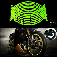 """10""""/12""""/18"""" Green Motorcycle Motor Rim Tape Reflective Wheel Stickers Decals"""