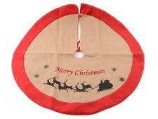 Luxury Hessian Natural Jute Xmas Under Tree Skirt With Felt Trim Merry Christmas