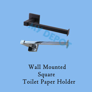 Wall Mounted Toilet Paper Roll Holder Stainless Steel Chrome Black Square Hook