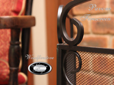 FIREPLACE ACCESSORIES *Wrought Iron Firescreen *PAVONE 3 panel Fire Screen Black