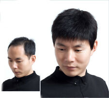 Short Straight Natural Black Wigs 100% Real Human Hair Wig Hairpiece For Men