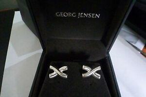 Georg Jensen Sterling Silver Rounded Cross Shape Cufflinks