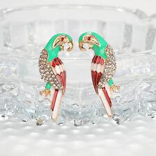 Women Parrot Shape Earrings Rhinestone Multicolor Birds Ear Studs Jewelry LD