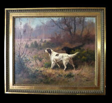 Original antique oil painting on canvas,hunting dog by Lanoux French 19th