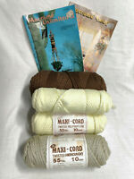 Vintage Lot of Macrame Maxi-Cord & 2 Pattern Booklets New Old Stock 6 piece set