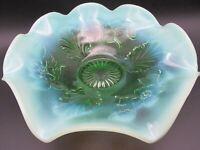 Northwood Opalescent Green Glass Blossoms & Palms Pattern Ruffled Edge Dish
