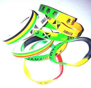 Jamaica/Rasta/Red,Green & Gold Silicone Wristband/Bracelet - Show Your Colours