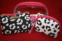 BETSEY JOHNSON COSMO 3 PIECE COSMETIC BAG SET TRAVEL MAKE-UP CASES BLACK/WHITE