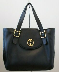 GUCCI Black 1973 Pebbled Leather Double Strap Tote with Gold Hardware