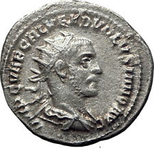 Volusian 251AD Silver Authentic Genuine Ancient Roman Coin PAX Peace Rare i65345