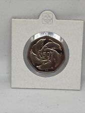 More details for 1999 rare key date gibraltar 50p fifty pence dolphins 7 sided coin aa die mark