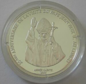 DR Congo 10 Francs 2000 Apostolic Journey of Pope John Paul II Blessing Silver