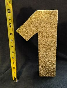 Number One (#1) Gold Glitter XL Photo Prop for Baby's First (1st) Birthday