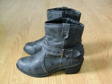 Lilley Ladies Heeled Cowboy Biker Ankle Boots Grey Size 6 / 39