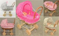 Doll Wicker Buggy/Pram / Dolls Buggy/Pram/ Stroller/Natural wicker/Wooden Wheels