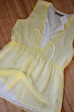 HALLHUBER DONNA schöne Tunika Top Shirt Gr. 40 / UK12 neu 100% Seide Gelb & Weiß
