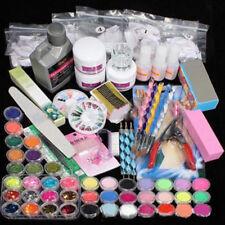 42 Acrylic Powder Liquid Nail Art Kit Glitter UV Gel Glue Tips Brush Set 2018