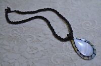 """VTG MOTHER OF PEARL SHELL INLAY PENDANT & BLACK GLASS BEADED BOHO NECKLACE 17"""""""