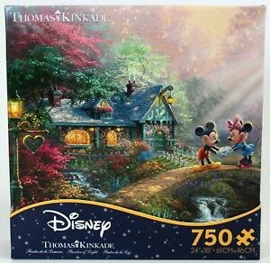 Disney Puzzle MICKEY & MINNIE SWEETHEART BRIDGE Ceaco NEW 750 pc Kinkade Artists